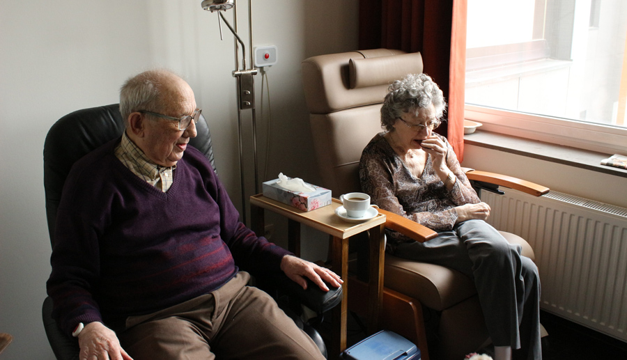 Elderly couple receiving affordable home-base care